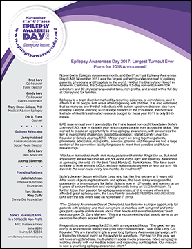 Epilepsy Awareness Day 2018 Press Release